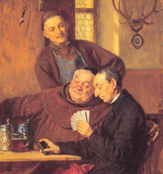 kártyázók, kibicekkel